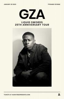 Event poster for GZA - Liquid Swords 25th Anniversary Tour