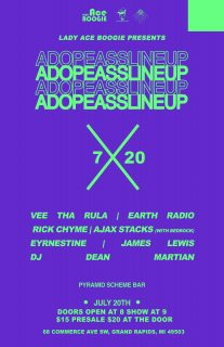 Event poster for Lady Ace Boogie Presents: A Dope Ass Line Up!