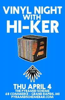Event poster for Vinyl Night w/ hi-ker (front bar)
