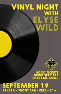 Event poster for Vinyl Night w/ Elyse Wild (front bar)