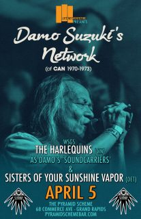 Event poster for CANCELED: Damo Suzuki (of Can 1970-1973) w/ The Harlequins & Sister of Your Sunshine Vapor