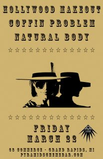 Event poster for Hollywood Makeout + Coffin Problem + Natural Body