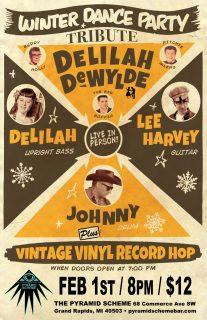 Event poster for Delilah DeWylde: Winter Dance Party & Vintage Vinyl Record Hop!