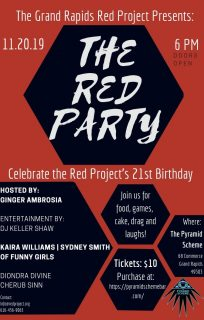 Event poster for The Red Party presented by The Grand Rapids Red Project