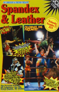 Event poster for Spandex & Leather : A Dance Party Tribute to 80s Wrestling